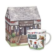 Churchill At Your Leisure Rugby Player Mug in Hatbox